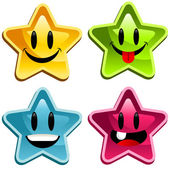 Vector set of colorful smiley stars