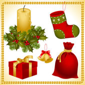 Collection isolated objects of Christmas ornaments bell sack stocking gift box and candle in a candlestick decorated in holly with berries and pine branche