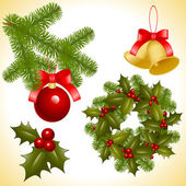 Collection of isolated objects of Christmas ornaments coniferous decoration balls bell and trefoil with berries