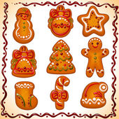 Set of Christmas cookies isolated on white background christmas gingerbread icon: star snowman candy hat bellsock tree ball man Vector illustration