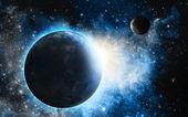 Země a měsíc s modrá mlhovina