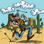 Cartoon cowboy running from indian arrows He is in the desert there is a cactus behind him