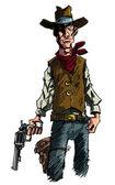 Mean illustration of a Cowboy gunslinger draws his six shooter