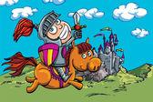Roztomilý kreslený rytíř na koni