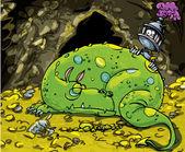Karikatúra sárkány alszik egy halom arany