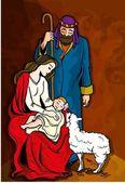 Beautiful Nativity Illustration Mary Joseph baby Jesus and sheep