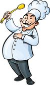 Cartoon chef with a ladle Isolated on white