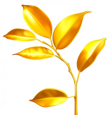 Vector golden sprouts. Business economy concept.