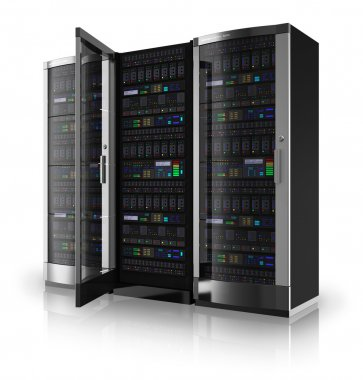 Server racks with open door