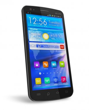 Black glossy touchscreen smartphone
