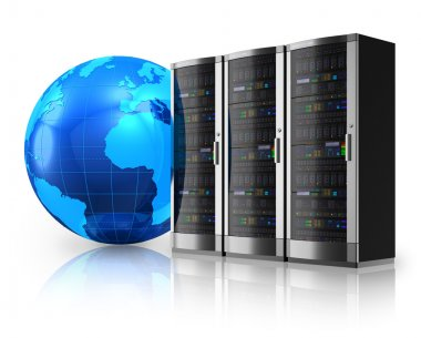 Network servers and Earth globe