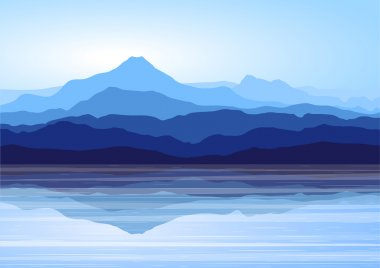 View of blue mountains with reflection in lake stock vector