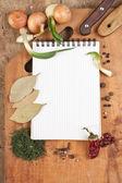 notebook, főzés, receptek és fűszerek