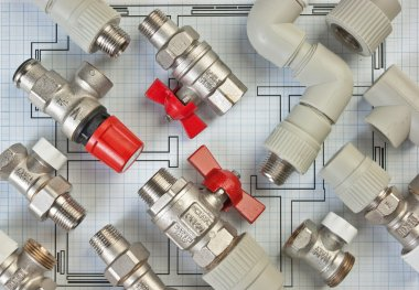 Plumbing fittings on the drawing