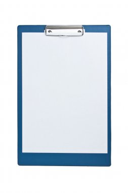 Blank clipboard with paper isolated on white background stock vector