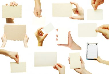 Man hand holding a blank business card stock vector