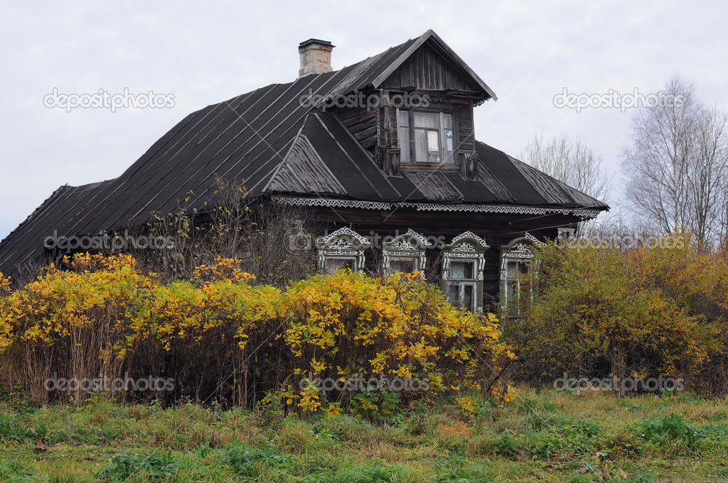 Russian Village House in the Fall