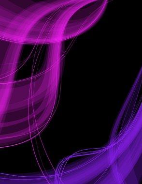 Colorful transparent waves on black background