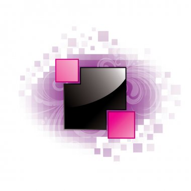 Glossy square with pixel background