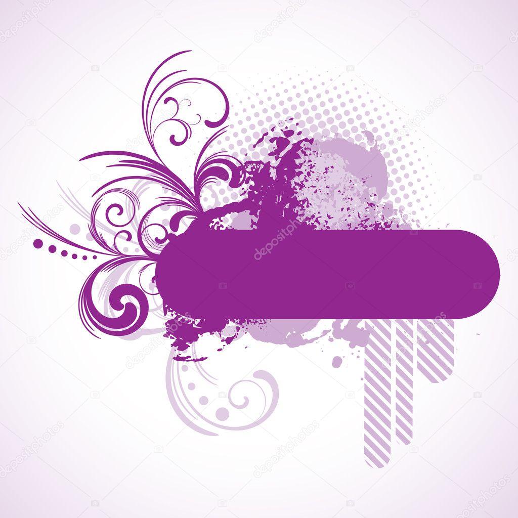 marco de color púrpura con elementos florales — Archivo Imágenes ...