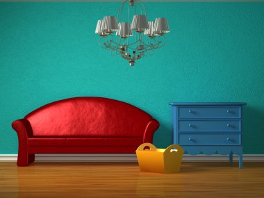 Red sofa with luxurious chandelier in kids interior