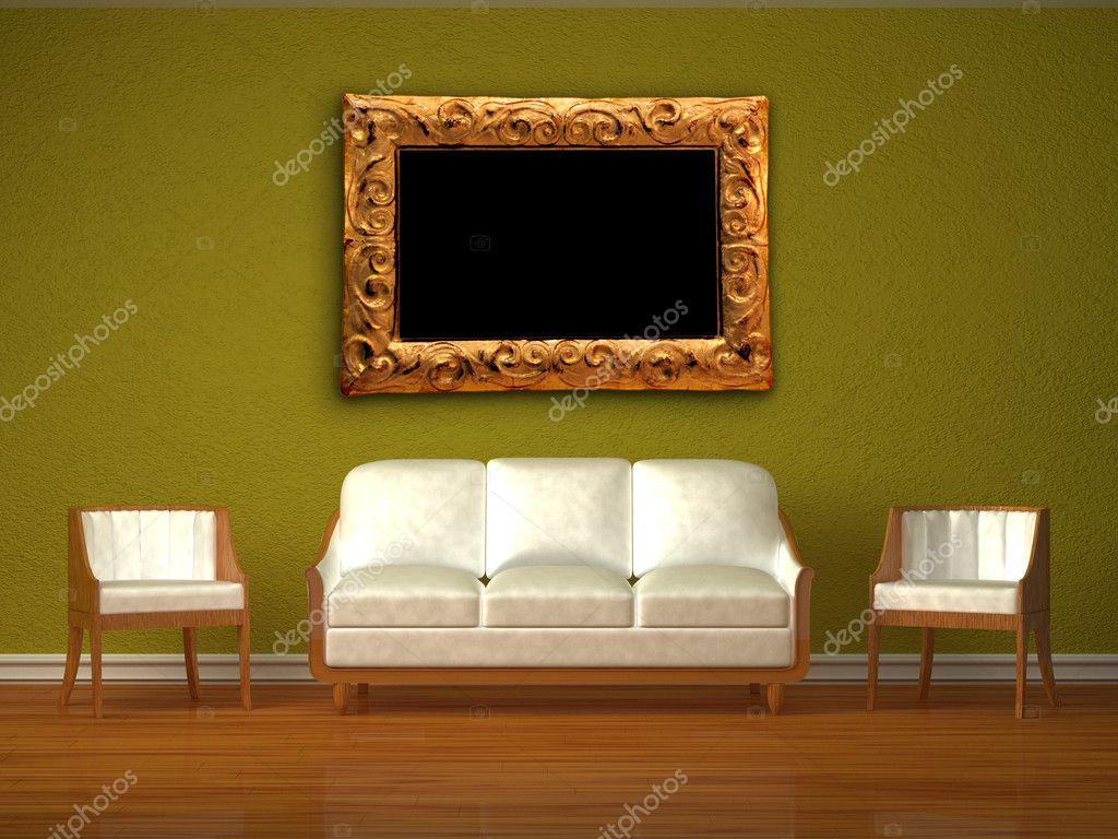 sofá blanco y dos sillas con moderno marco en verde interior — Foto ...