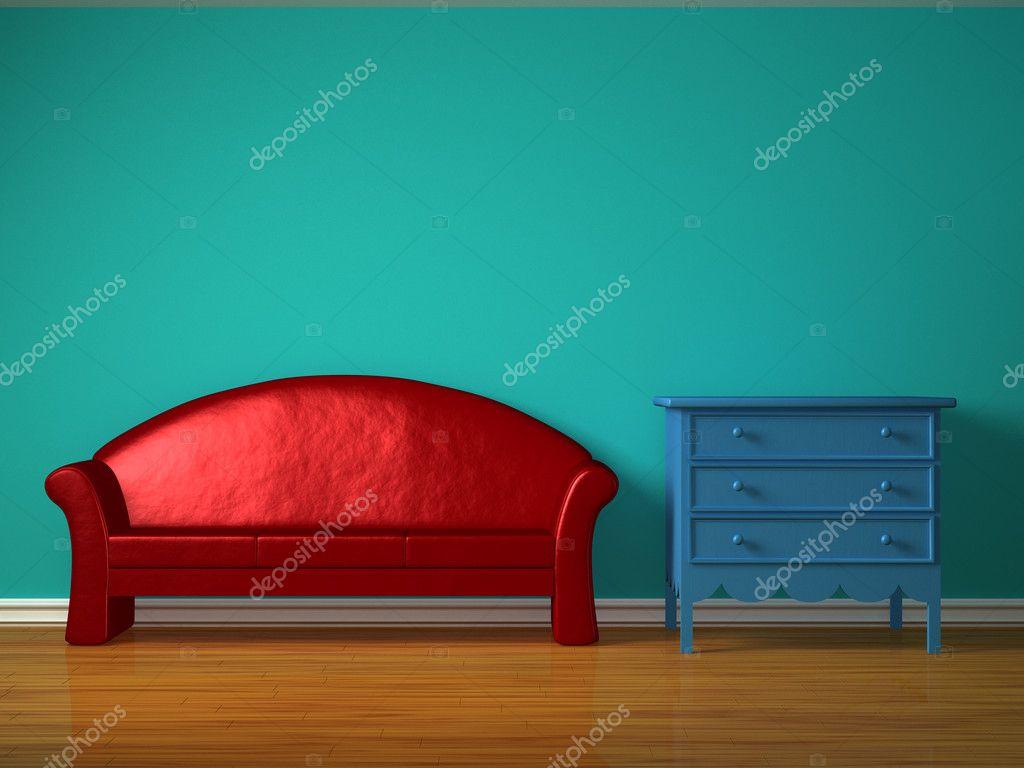 Nachtkastje Kinderkamer Afbeeldingen : Rode sofa met blauwe nachtkastje in kinderkamer u stockfoto