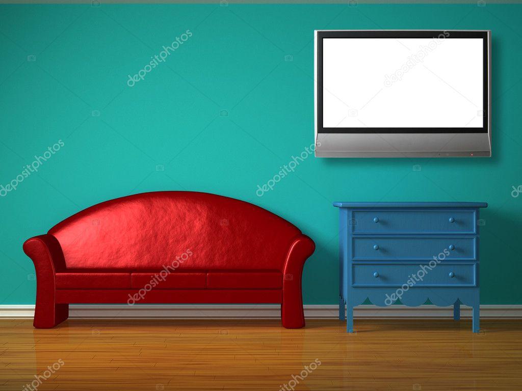 Nachtkastje Kinderkamer Afbeeldingen : Rode sofa met blauwe nachtkastje en lcd tv in de kinderkamer