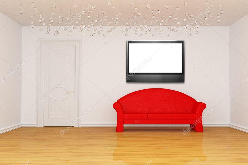 Wohnzimmer mit Tür, rote Couch und Bilderrahmen — Stockfoto ...