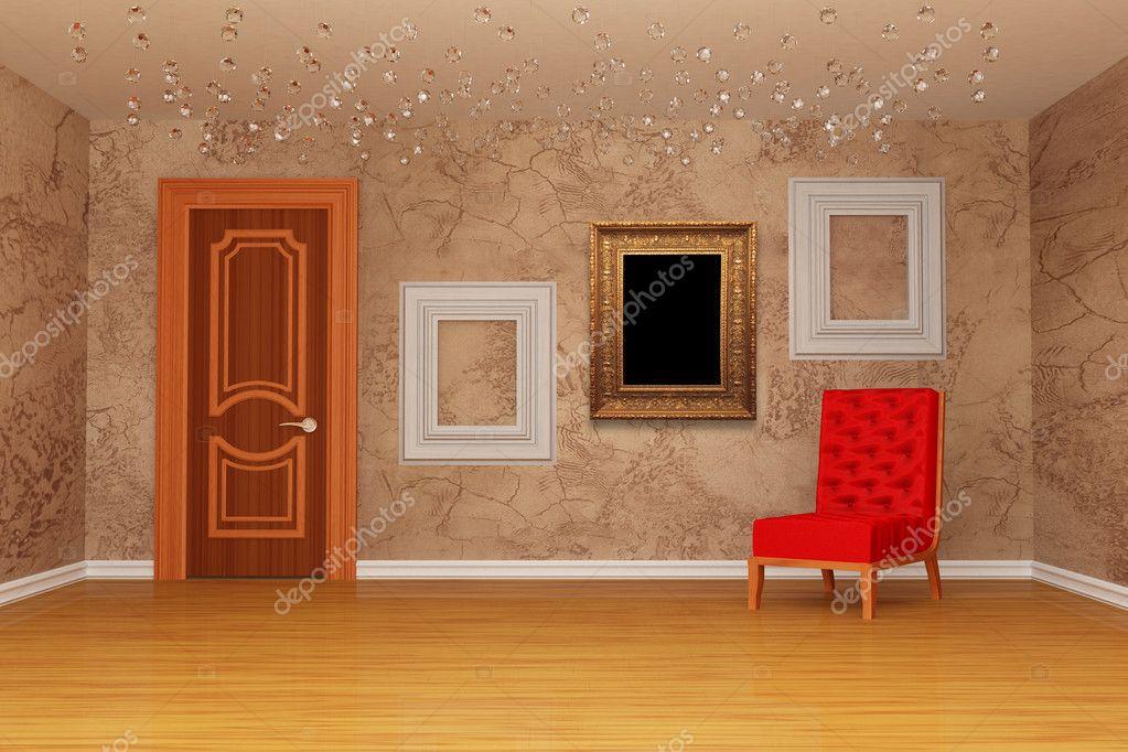 leeren Raum mit Tür, roten Stuhl und drei Bilderrahmen — Stockfoto ...