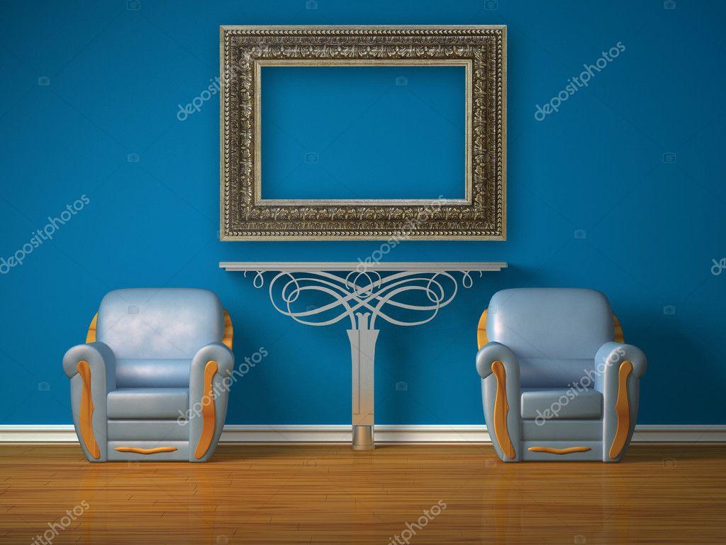Stoel Metalen Frame : Twee luxe stoelen met metalen console en foto frame u2014 stockfoto