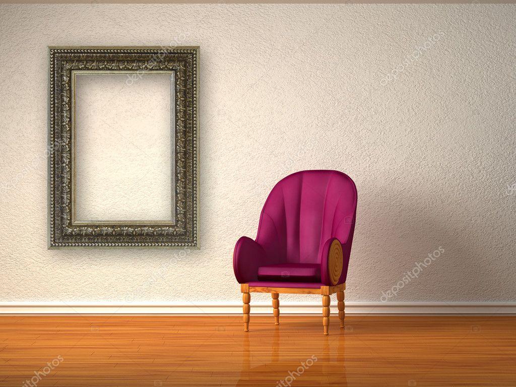 Alleen luxe stoel met moderne frame in minimalistische interieur