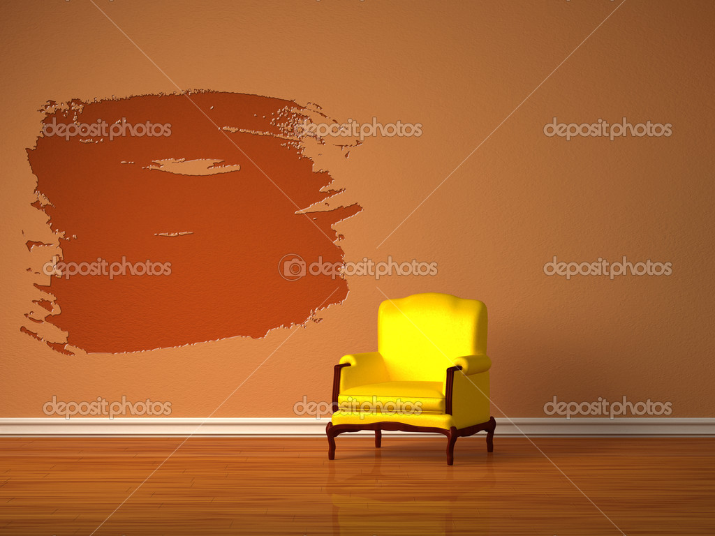 Alleen luxe stoel met splash gat in minimalistische interieur