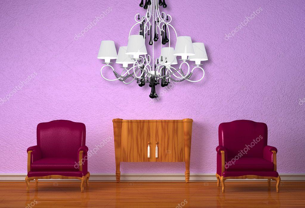 Kronleuchter Lila ~ Zwei luxuriöse stühle mit hölzernen konsole und kronleuchter in lila