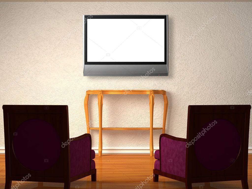 Twee luxe stoelen met houten console en lcd tv in minimalistische