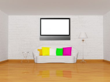 Minimalist living room with white couch, table, standard lamp and lcd tv