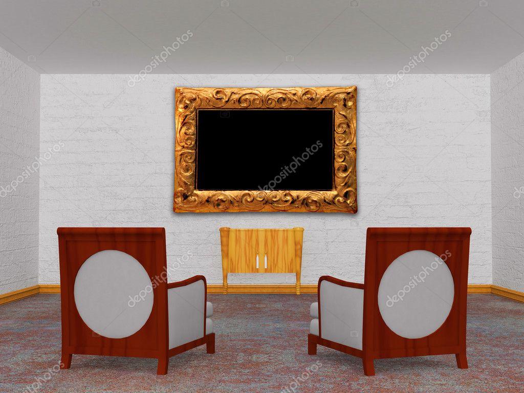 Twee luxe stoelen met een houten console en een afbeeldingsframe