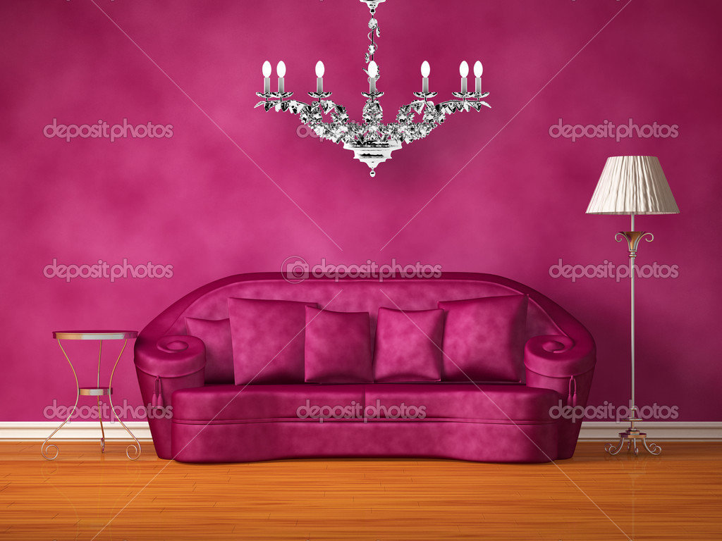 Kronleuchter Lila ~ Lila couch mit tisch stehlampe und kronleuchter in lila interieur