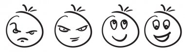 Set of doodled cartoon faces