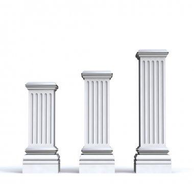 Three pedestals