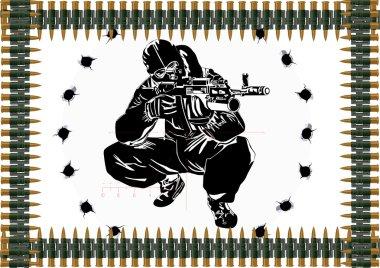 Machine-gun belt and a sniper with a gun
