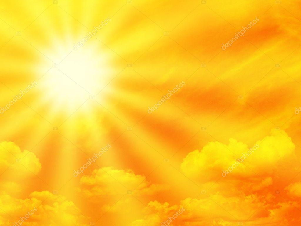 Orange sky and sunbeam