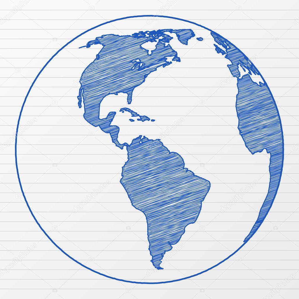 drawing world globe stock vector julydfg 7316406. Black Bedroom Furniture Sets. Home Design Ideas