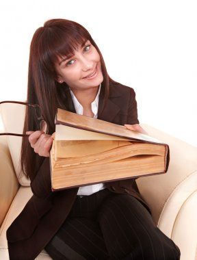 Young beautiful woman read book.