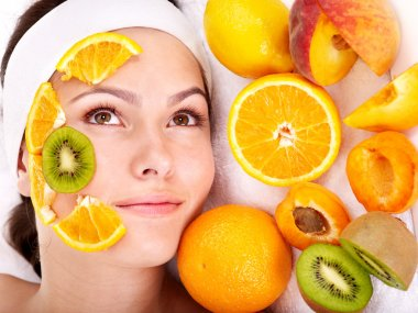 Natural homemade fruit facial masks .