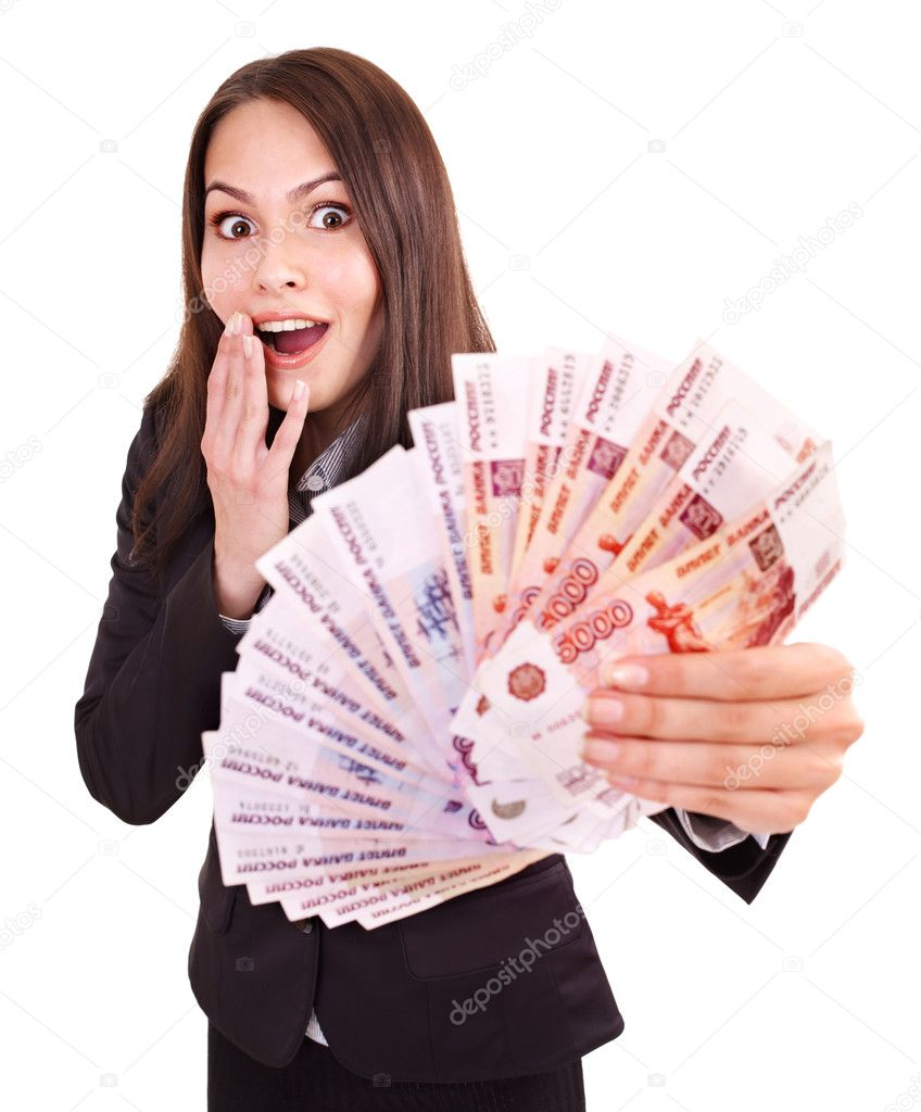 woman with money russian rouble ストック写真 poznyakov 7258797