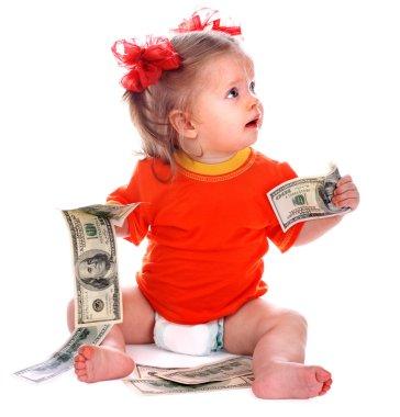 Child with euro money.