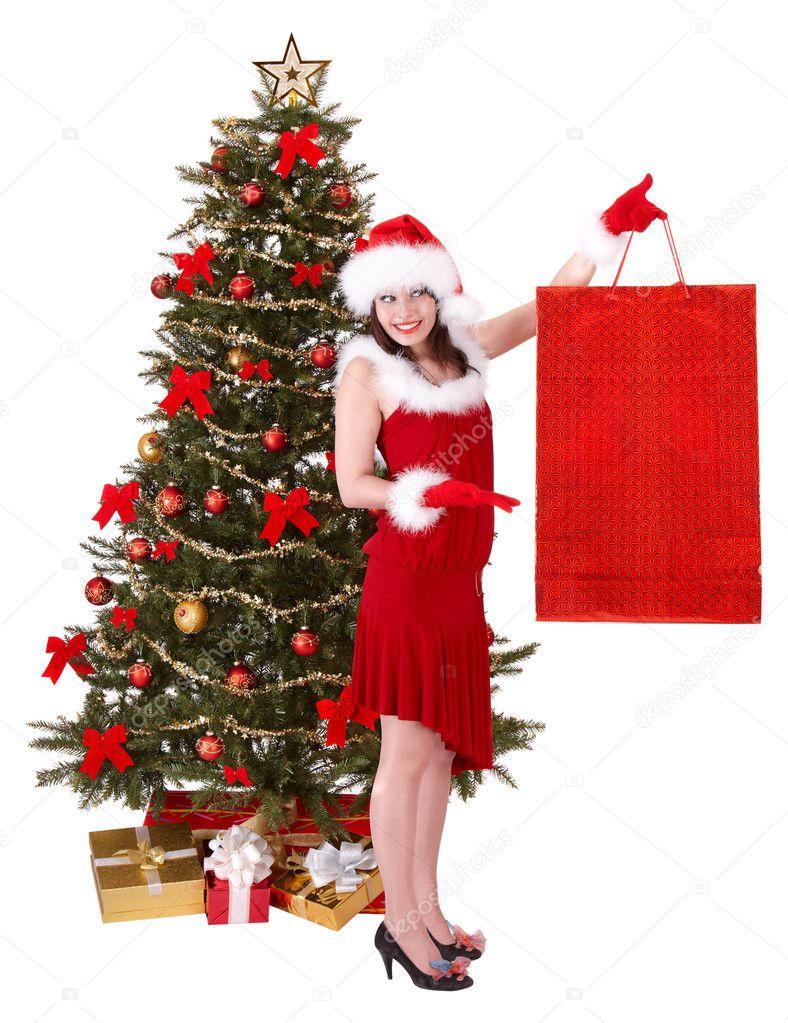 Garota De Natal No Chapéu De Papai Noel Saco De Compra árvore Do