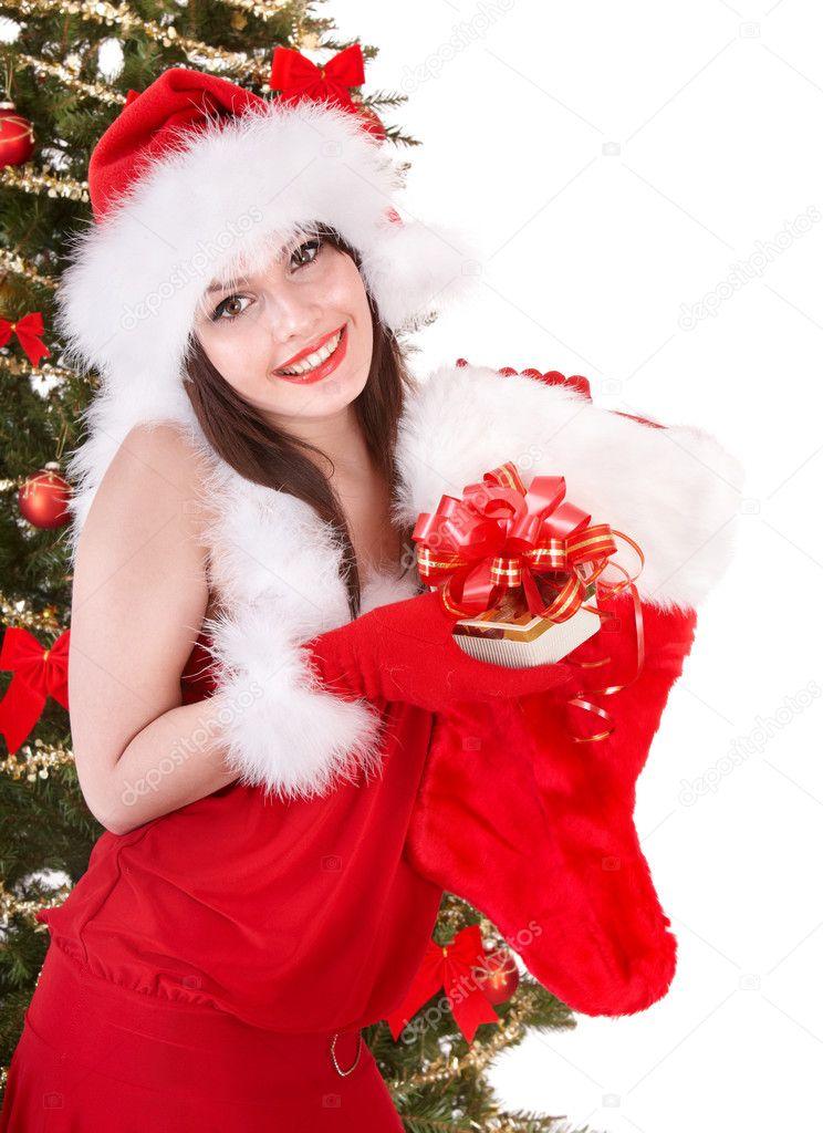 Mädchen in Santa weihnachten Socken und Geschenk-box — Stockfoto ...