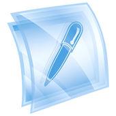 ikona pera modrá, izolovaných na bílém pozadí